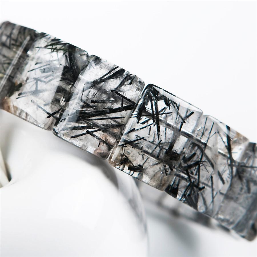 Genuine Black Natural Rutilated Quartz Bracelets For Women Men Stretch Crystal Rectangle Bead Bracelet in Bracelets Bangles from Jewelry Accessories