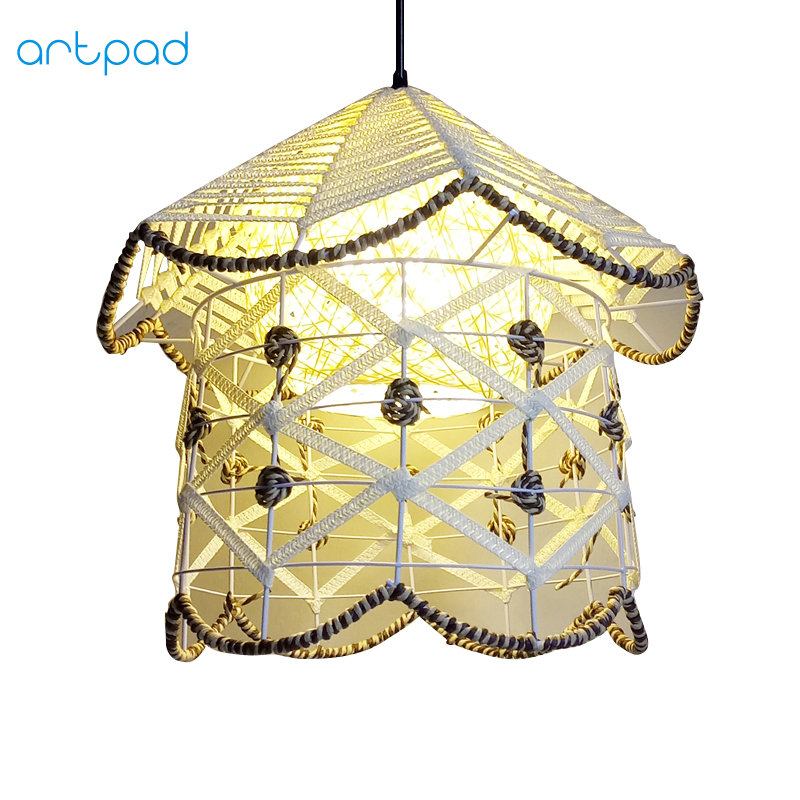 Artpad Modern DIY Handknitted Wrought Wicker Rattan Pendant Light For Dining Room Hotel Restaurant Furniture Fixtures White E27