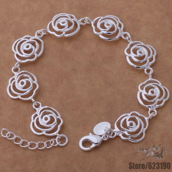 Véritable S925 Sterling Silver Bangle Femmes sculpté fleur de lotus bracelet 23 G 58 mm