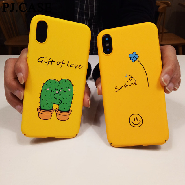 13bc2bbbef618f CASE Cartoon Cactus Yellow Case for iPhone 8 7 7 Plus 6 6S Ultra Thin Matte  Hard PC Cover Case for iPhone X Capa Coque Funda