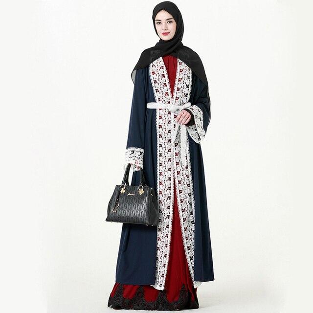 1f4d448d748b8 إمرأة متواضع مسلم الإسلامية الملابس الرباط هيم كامل طول العباءة الجلباب  القفطان دبي قفطان عباية مع