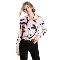 New Printed Wild Shirt Women Long Sleeve Button Chiffon Blouse Spring Autumn Elegant Office Ladies Pink