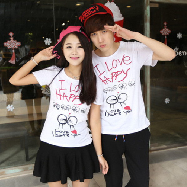37883ebc33 Hot Couple Love White Print T Shirt T-Shirts For Couples Clothes New 2014  Summer Clothing For Lovers TShirts 2 PCS/Lot Free Size