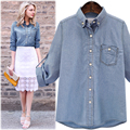 2017 primavera denim camisa Mulheres blusas soltas plus size 5xl Chemise Femme Do Vintage tops de manga longa Blusas Femininas camisas de escritório