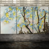 High Quality Hand Painted three panles yellow peach tree Oil Painting Modern Abstract Palette Knife Painting Wall Decoration
