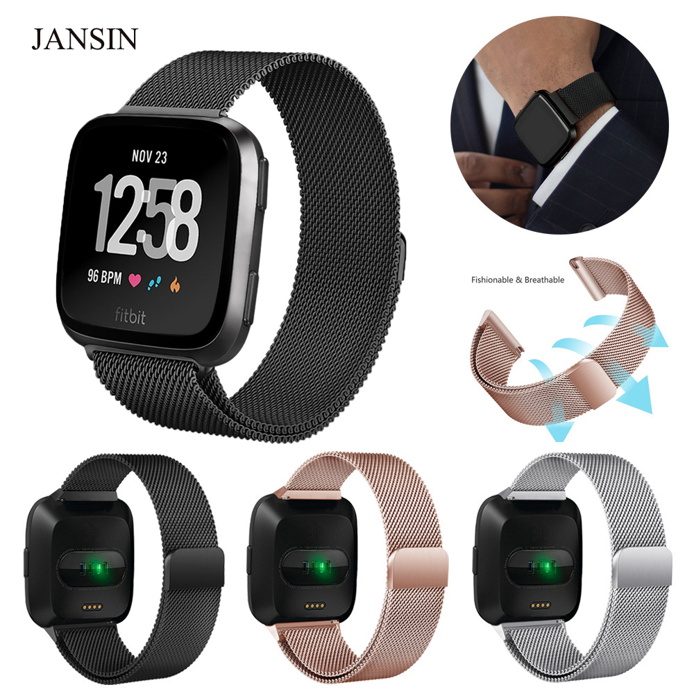 Milanese Loop band for Fitbit Versa Stainless Steel Replacement Bracelet Strap for Fitbit Versa smart watch band Women Men smart watch usb charging box cable for fitbit versa
