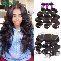 Body Wave Bundles With Frontal 3 Pcs Pre Plucked Lace Frontal Closure With Bundles Brazilian Hair Weave Virgo Human Hair NonRemy