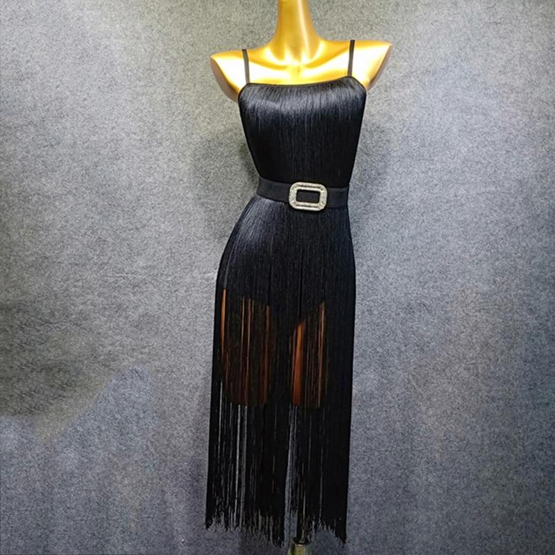 Robe de danse latine femme noir Sexy gland sans manches robes vêtements Rumba Cha Samba danse Performance porter DN3376