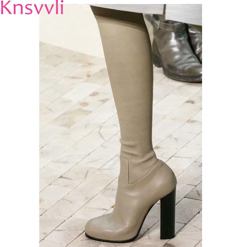Knsvvli 本革チャンキーヒール女性はブーツを腿 Autumm 締め Bota Ş Mujer ストレッチブーツ膝のブーツ  グループ上の 靴 からの 膝上 ブーツ の中 1