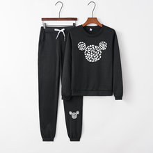 2017 Fashion Womens Fall new arrival Mickey pattern leisure suit Crewneck tracks