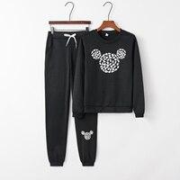 2017 Fashion Womens Fall new arrival Mickey pattern leisure suit Crewneck tracksuit for women black grey hoodies sweatshirt