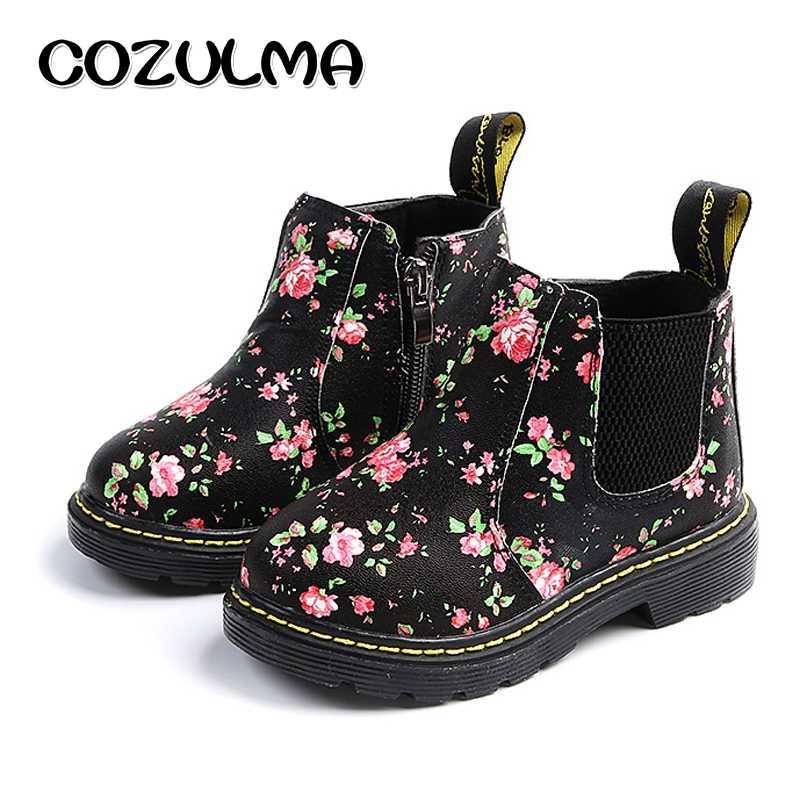 d934dab7 COZULMA Kids ботильоны для девочек и мальчиков Цветочный принт Челси сапоги  для девочек осенние ботинки martin
