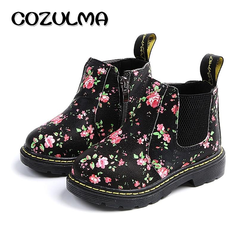 COZULMA Crianças Chelsea Boots Ankle Boots Meninas Meninos Floral Da Cópia Da Flor Meninas Outono Martin Botas Crianças Sapatos de Inverno tamanho 21 -36