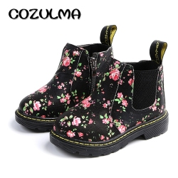 COZULMA Kids Ankle Boots Girls Boys Floral Flower Print Chelsea Boots Girls Autumn Martin Boots Children Winter Shoes size 21-36