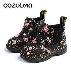 Cozulma crianças botas de tornozelo meninas meninos floral flor impressão chelsea botas meninas outono martin botas crianças sapatos de inverno tamanho 21-36