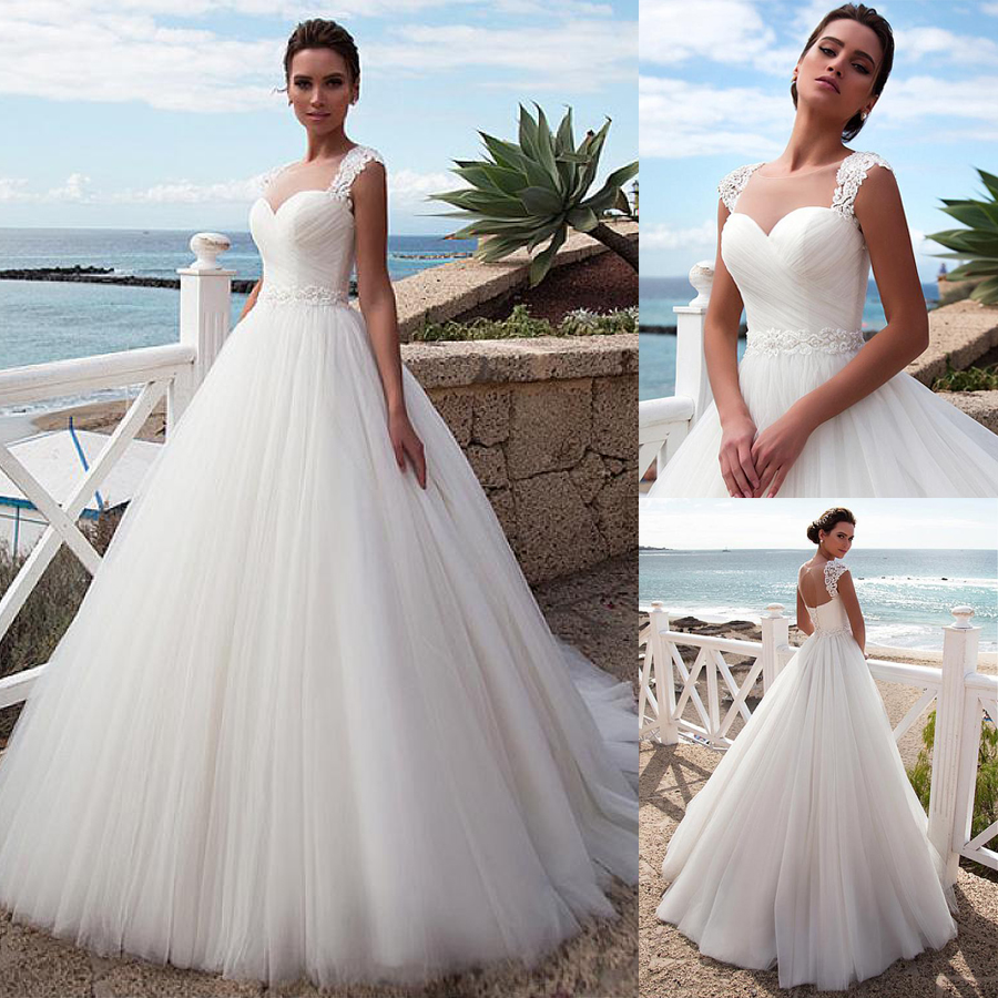 Stunning Tulle Jewel Neckline A Line Beach Wedding Dress With Beaded Lace Appliques Crystals Belt Bridal