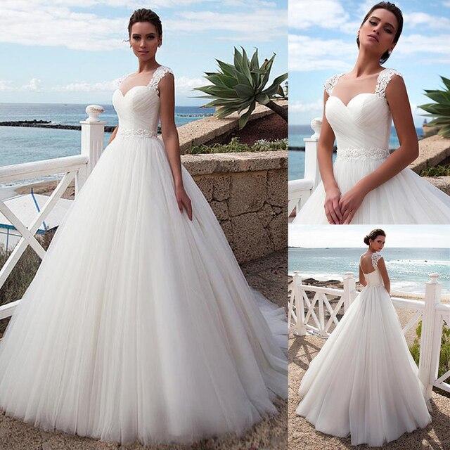 מדהים טול תכשיט מחשוף כלה שמלה עם חרוזים תחרה אפליקציות גבישי חגורת כלה שמלות