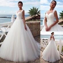 Stunning Tulle Jewel Ausschnitt A linie Strand Hochzeit Kleid Mit Perlen Spitze Appliques Kristalle Gürtel Brautkleider
