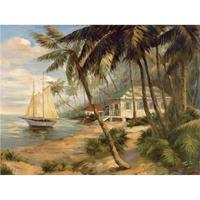 Hand Painted contemporary art coastal landscapes Oil painting on canvas Key West Hideaway wall decor High quality