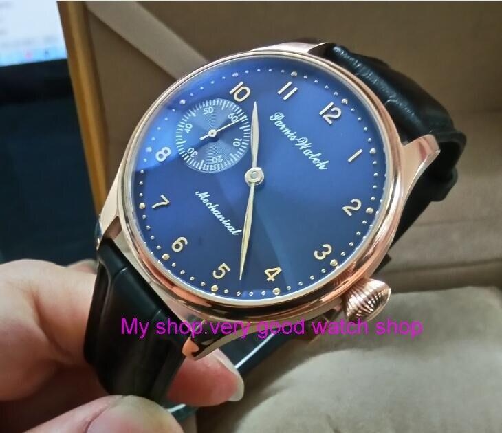 все цены на 44mm PARNIS blue dial 17 jewels Asian 6497/3600 Mechanical Hand Wind movement men's watch Rose gold case Mechanical watch 330A онлайн