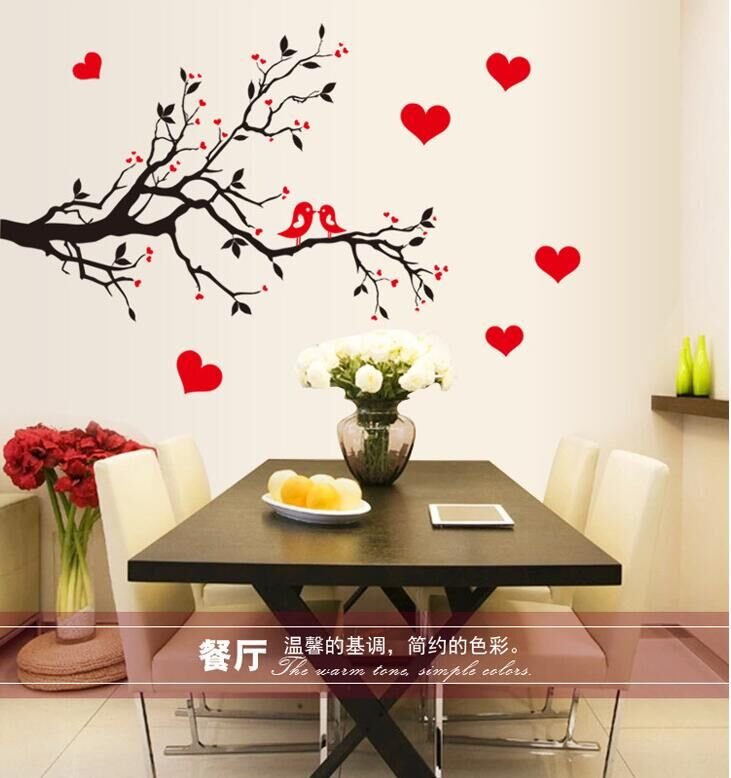 Fashion Red Love Heart Wall Decor Vintage Life Tree Sticker Home Birds