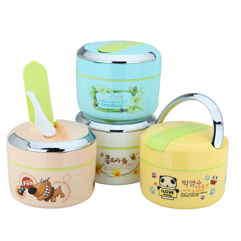 Stainless Steel Insulation Boxes Cute Cartoon Children Portable Double Lattice Sealing Lunch Box 1 2L
