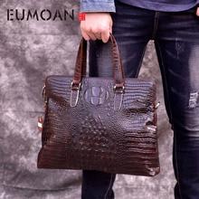 EUMOAN Crocodile pattern briefcase leather men's business bag oil skin computer bag Europe and America handbag leather man bag цены