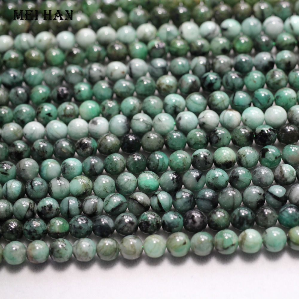 Wholesale approx 50 beads set 24g 6 5 7mm genuine African Green emeraldd gem stone smooth