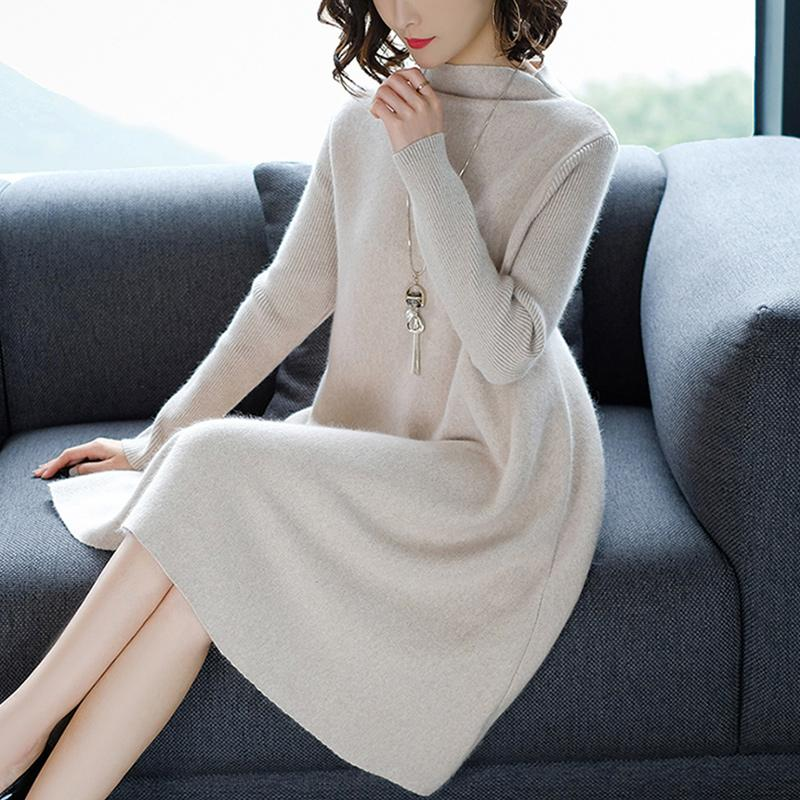 Image 4 - Women Dress Winter Loose Style Cashmere Knitted Dresses 2018 New Fashion Autumn Warm Long Pullover Dress Woman Thick Knitwear-in Dresses from Women's Clothing