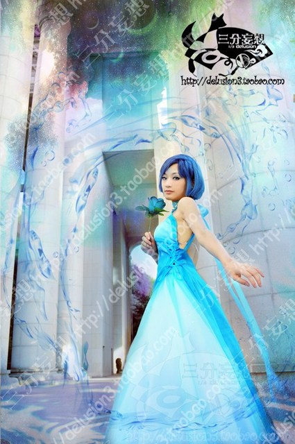 Free shipping Sailor Moon Princess Serenity Tsukino Usagi light blue ...