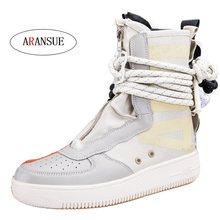 f5d4598af ARANSUE New arrival 2018 unisex ankle boots malha bundinha sapatos amante  de boa qualidade curto bota para homens e senhoras Bot.