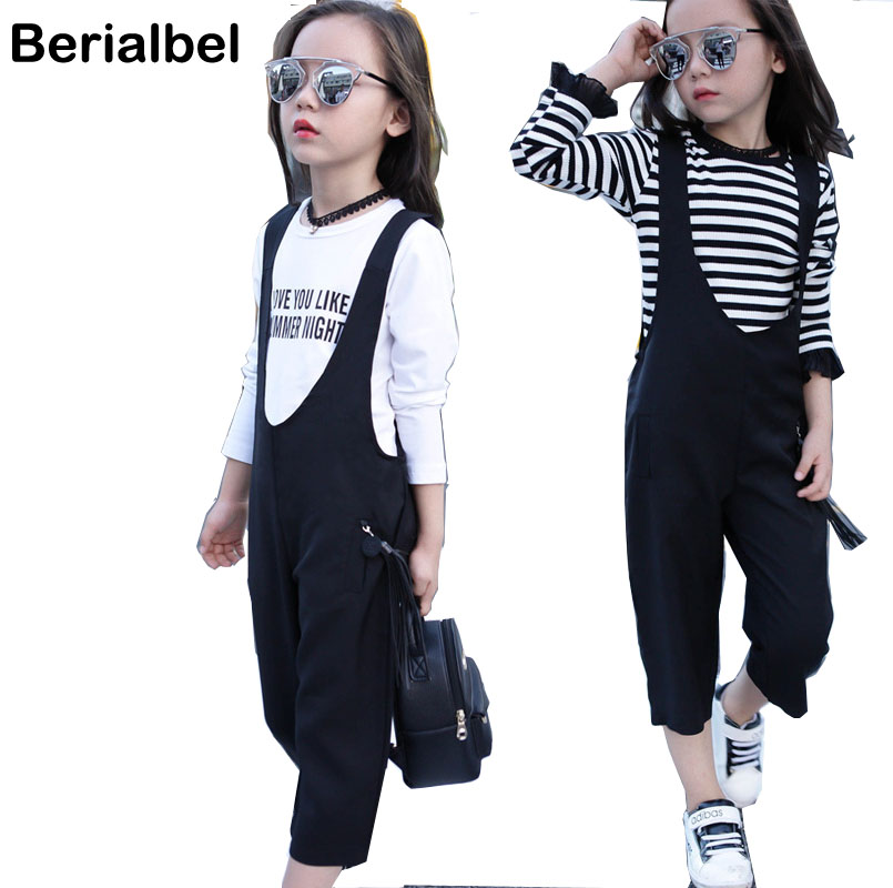 2017 Fashion Girls Big Kids Clothes Sets Long Sleeve Letter  Shirt + Wide Suspender Trousers Pants Suits Children Clothing купить