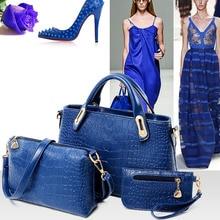 3PCS Set Luxury Leather Handbags Women Messenger Bags Crocodile Pattern Women Shoulder Bag Purse Wallet De
