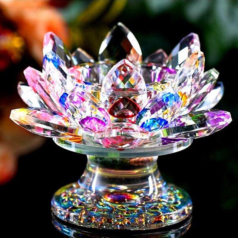 110mm Feng shui cristal de cuarzo flor de loto artesanía pisapapeles de cristal Figurines decoración de boda inicio regalo de recuerdo