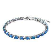 Blue Fire Opal 925 Sterling Silver Fashion Beautiful Jewelry Bracelet P336