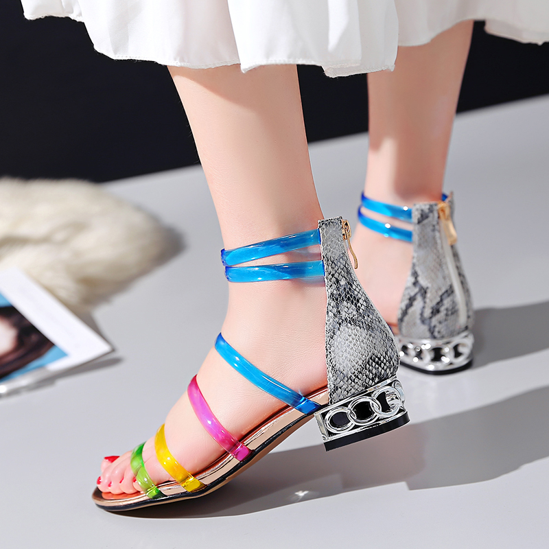 Sandalias Bajo Prova Dulce Señoras Gladiador Playa Colors De Chica Perfetto Zapatos Tacón Transparente Mujeres Colores Las Pvc Verano q6tr61x
