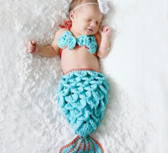 a2cc9cc3506 3PCS Set Crochet Little Mermaid Beanie Hat Cap Newborn Baby Photography  Photo Props Costume Handmade Infant Cartoon Knit Hat