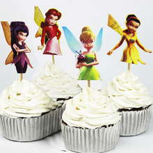 48pcs/lot pretty woman Flower Fairy Wings baby Theme Cartoon Cupcake Ice Cream Cake Toppers for Children Baby shower Party(China)