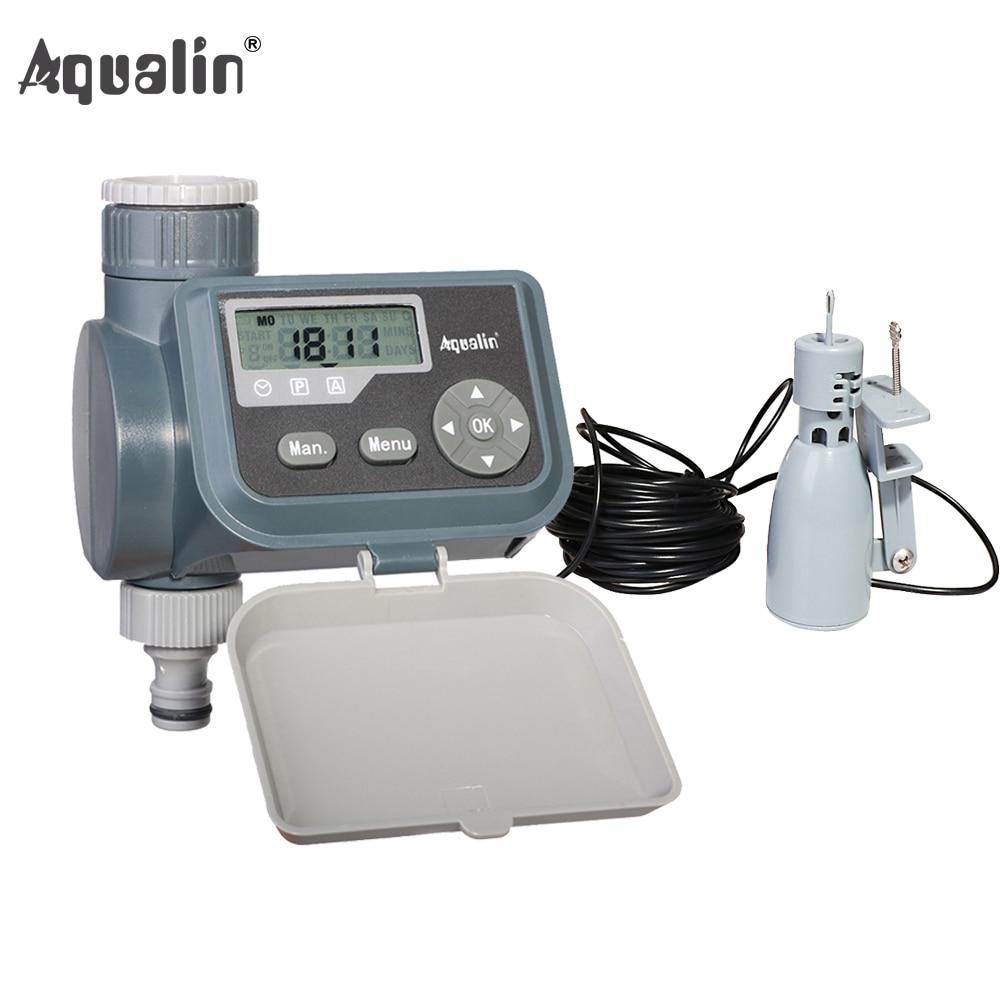Accueil LCD Jardin Arrosage Minuterie Électrovanne Automatique Jardin Irrigation Contrôleur Numérique 21004 et Capteur De Pluie 21103 # 21004R