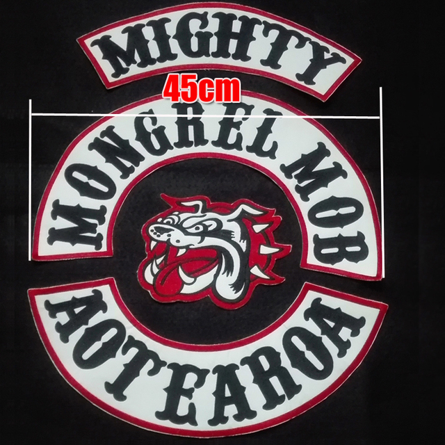new arrived custom 45cm large mongrel mob patches for