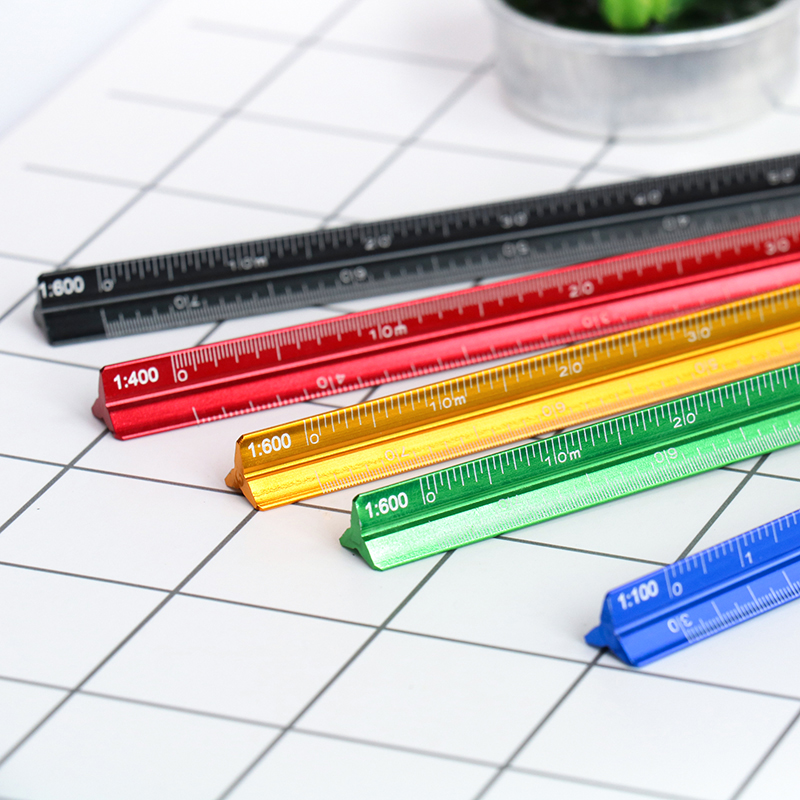 TUTU High Quality Colorful 15cm Aluminum Triangular Scale Ruler Aluminum 1:20 - 1:600 Alloy Metal Scale Regua Desenho H0003
