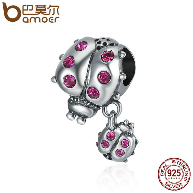BAMOER Genuine 925 Sterling Silver Ladybug Story Clear CZ Dangle Charm Pendant f