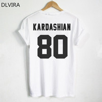 DLVIRA S 3XL Kim Kardashian T Shirt KARDASHIAN 80 Print On Back Side Tshirt Kim Kardashian