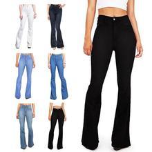 Женские Стрейчевые джинсовые брюки с высокой талией, длинные расклешенные джинсы, Стрейчевые расклешенные джинсы, свободные расклешенные джинсы