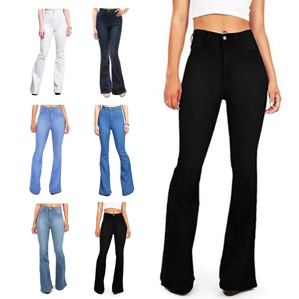 Ladies Stretch High Waist Denim Pants Kick Flare Long Bell-Bottoms   Jeans   Stretch Flare   Jeans   Loose Flare   Jeans