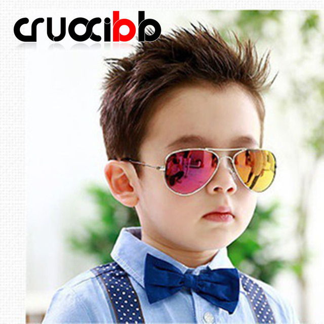CRUOXIBB 2017 New Fashion Children Kid Sunglasses Anti-UV Classic Boy kids Sunwaer high quantity Coating Mirror glasses oculos