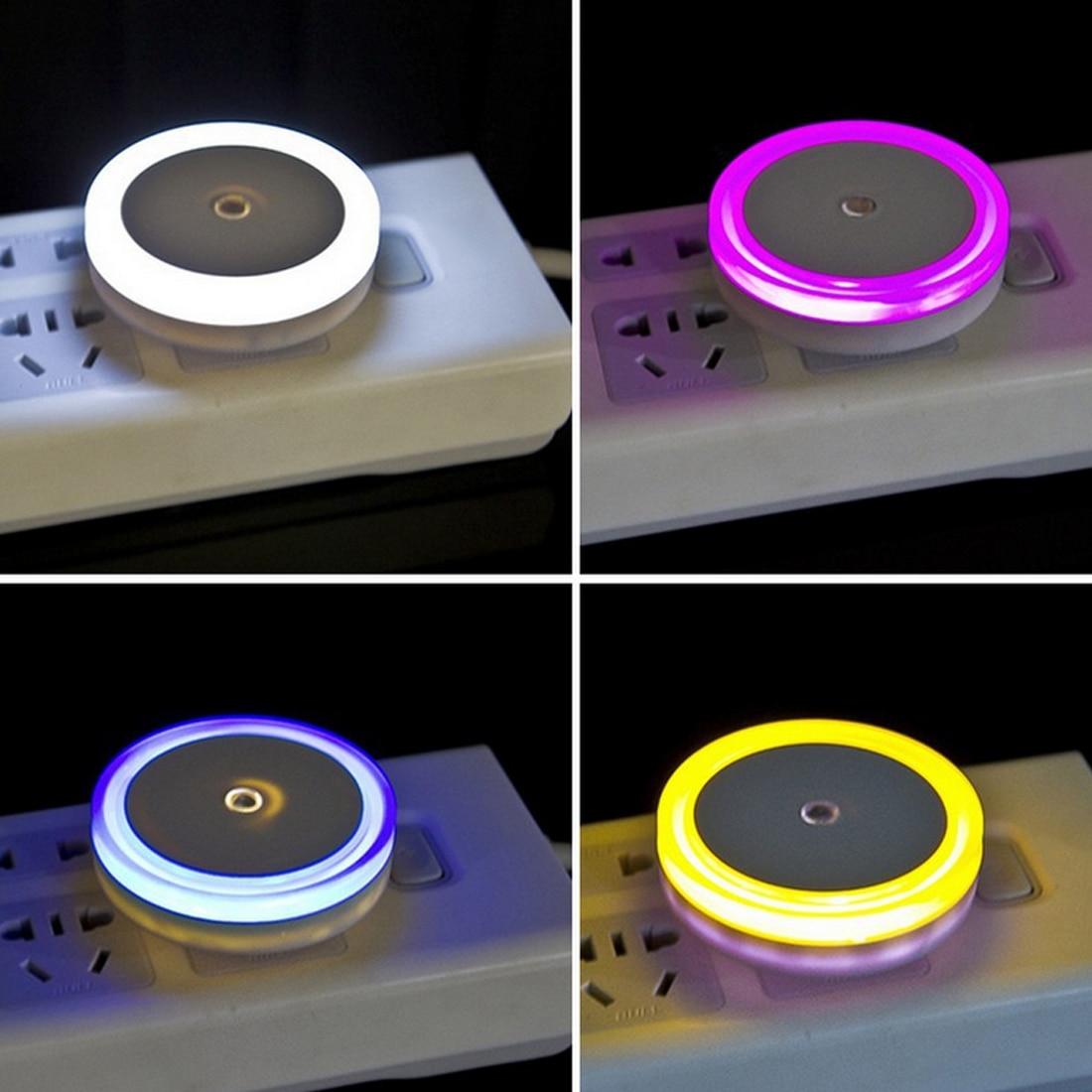 Новый бренд авто светодиодный свет индукции Сенсор Управление Ночное освещение кровать лампы круглый Форма 110-220 В 4 цвета США Plug