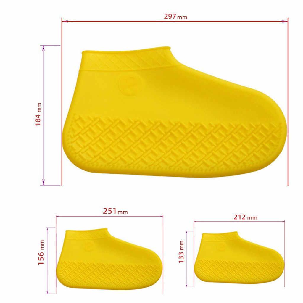 MUQGEW الساخن بيع 1 زوج قابلة لإعادة الاستخدام اللاتكس للماء أحذية المطر يغطي زلة مقاومة حذاء مطر من المطاط الجرموق إكسسوارات أحذية