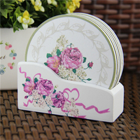 Wooden Drink Cup Tea Coasters Plate Serving Floral Flower Pattern Decorative Creative Kitchen Gifts 6pcs/lot 11cm