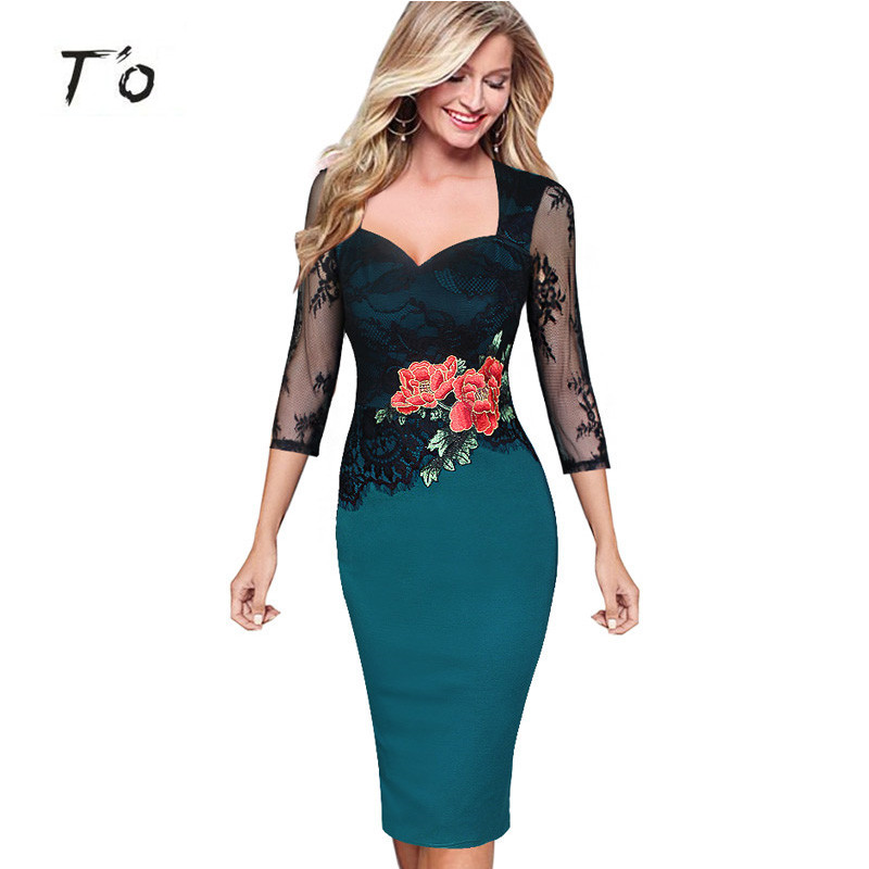 T O Lace Embroidery See Through font b Floral b font 3 Quarter Sleeve Party Occasion